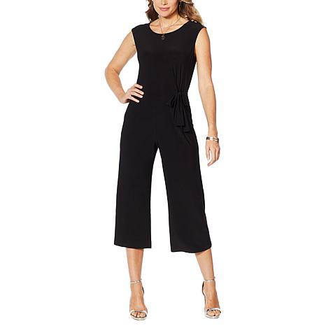 Nina Leonard Miracle Matte Jersey Culotte Pant Jumpsuit