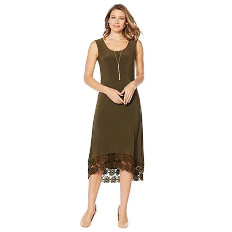 Nina Leonard Miracle Matte Jersey Dress with Crochet Hem