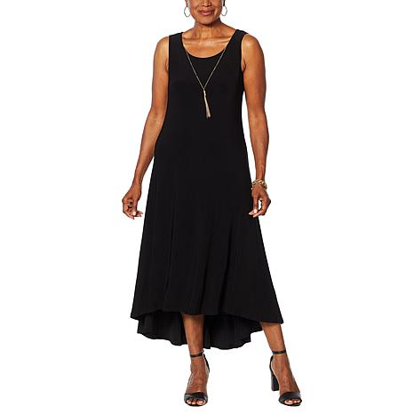 Nina Leonard Miracle Matte Jersey Hi-Low Dress with Necklace