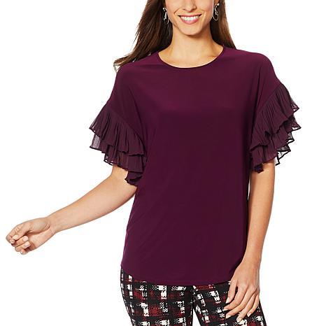 Nina Leonard Miracle Matte Jersey Pleated Sleeve Top