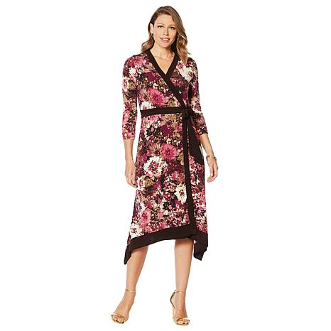 Nina Leonard Printed Miracle Matte Jersey Faux Wrap Dress