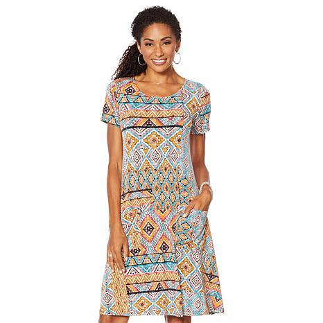 Nina Leonard Printed Trapeze Dress with Pockets