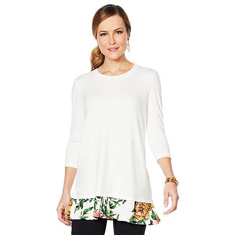Nina Leonard Soft Knit Printed Top