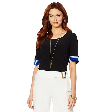 Nina Leonard Tunic with Striped Cuff