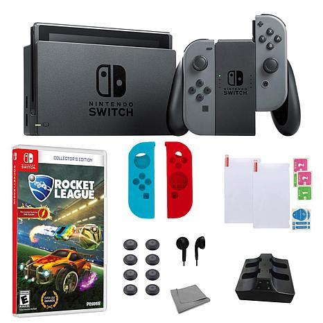 "Nintendo Gray Switch Bundle w/Accessories and ""Rocket League"" Game"
