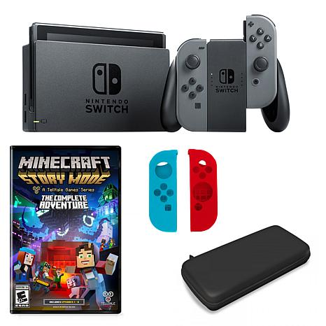 """Nintendo Switch in Gray with """"Minecraft Story Mode"""" and Accessories"""