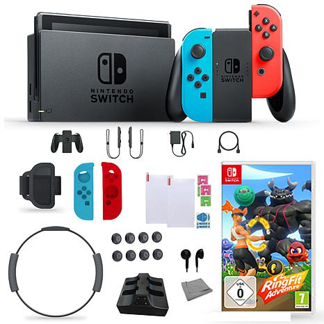 Nintendo Switch Neon with Ring Fit Adventures and Accessories Kit