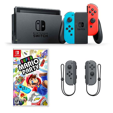 "Nintendo Switch Neon with ""Super Mario Party"" Game & Accessory Bundle"