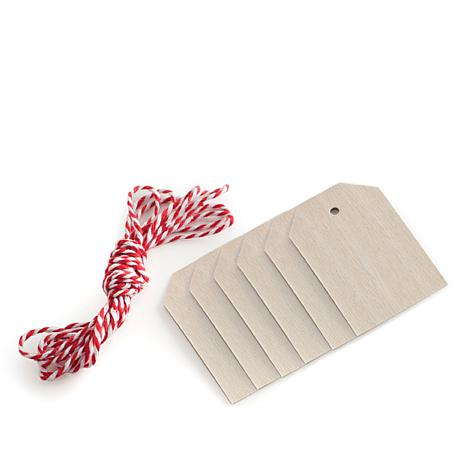 Nordic Ware Wooden Gift Tags with Twine - Set of 6