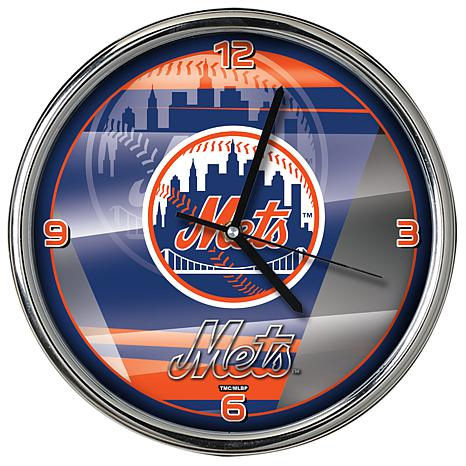 Officially Licensed MLB Shadow Chrome Clock - Mets