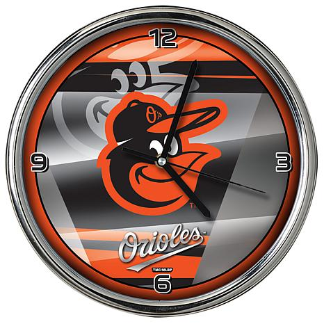Officially Licensed MLB Shadow Chrome Clock - Orioles