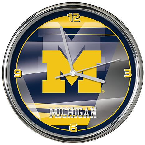 Officially Licensed NCAA Shadow Chrome Clock - University of Michigan