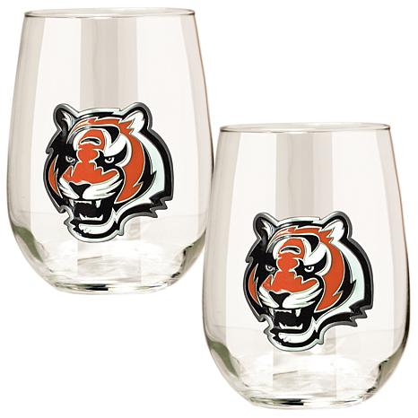 Officially Licensed NFL 2pc Wine Glass Set - Bengals