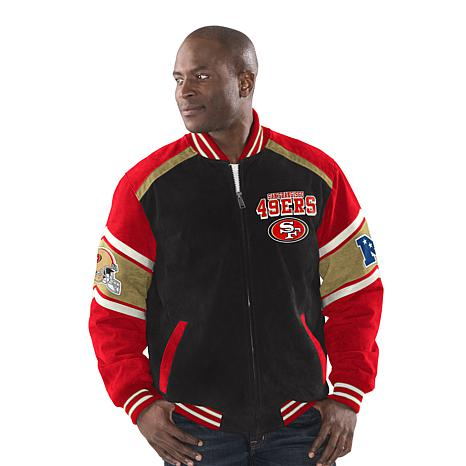 Top Officially Licensed NFL Colorblocked Suede Jacket by Glll 49ers  for sale