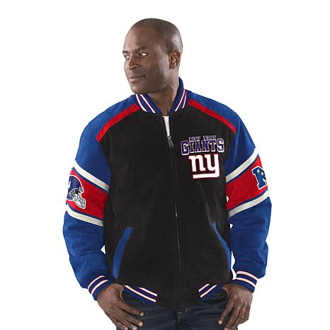 sports shoes 726b9 dbece Officially Licensed NFL Colorblocked Suede Jacket by Glll - Giants