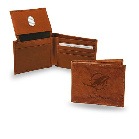 Officially Licensed NFL Embossed Leather Billfold - Dolphins
