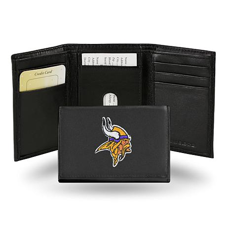 Officially Licensed NFL Embroidered Leather Trifold - Vikings