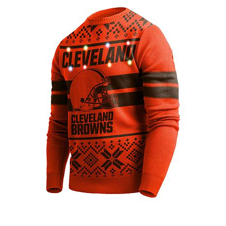 Cleveland Browns Christmas Sweater.New Officially Licensed Nfl Light Up Sweater By Team Beans Browns