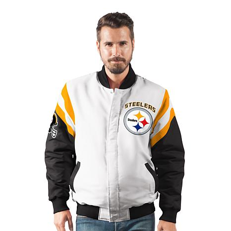 new style f1458 66b3c Officially Licensed NFL Men's Commander Varsity Jacket by Glll - Steelers