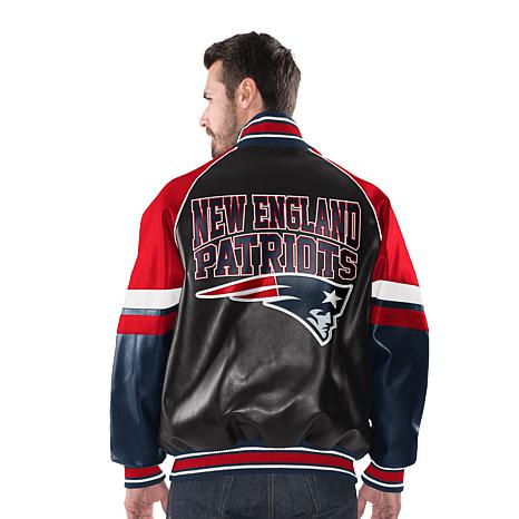 hot sale online b1e98 55772 Officially Licensed NFL Men's Faux Leather Varsity Jacket by Glll - Patriots
