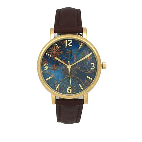 Olivia Pratt Goldtone Blue Dial Brown Faux Leather Strap Watch
