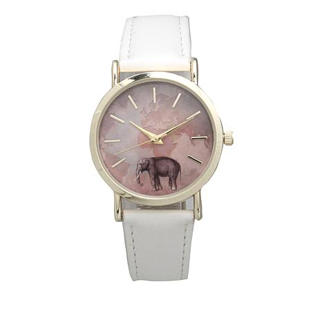 Olivia Pratt Goldtone Global Elephant White Faux Leather Strap Watch