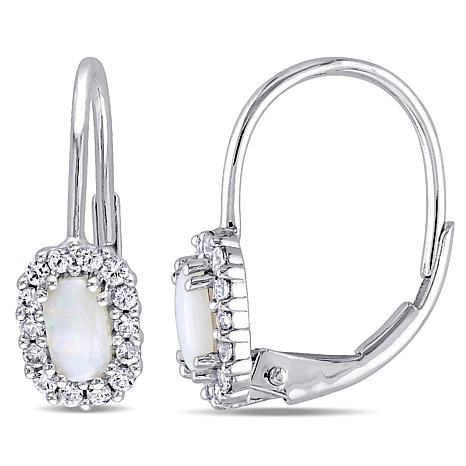 Opal and White Sapphire  10K Leverback Earrings