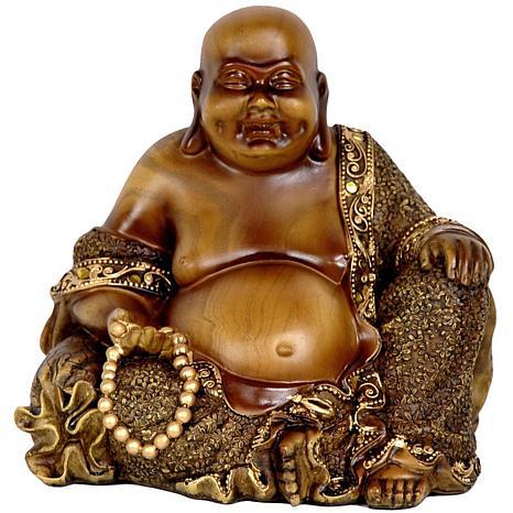 "Oriental Furniture 6"" Sitting Laughing Buddha Statue"