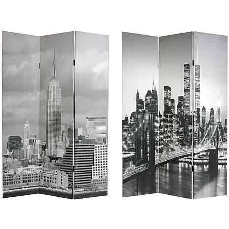 Oriental Furniture New York Scenes 3-Panel Divider - Oriental Furniture 6-Foot Double-Sided New York Scenes Room