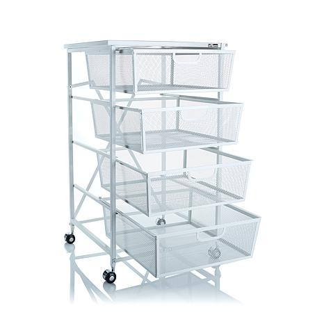 Origami 4 Drawer Cart With Wood Shelf 8090500 Hsn