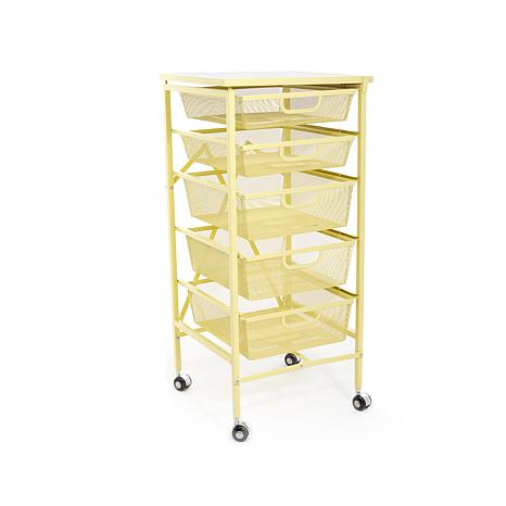Origami 5 Drawer Kitchen Cart With Wooden Top