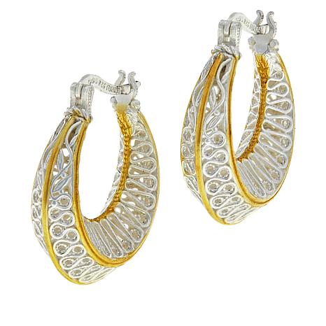 Ottoman Couture Sterling Silver Two-Tone Filigree Ribbon Hoop Earrings