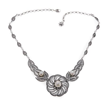 Ottoman Jewelry Cultured Pearl Floral Bib Necklace
