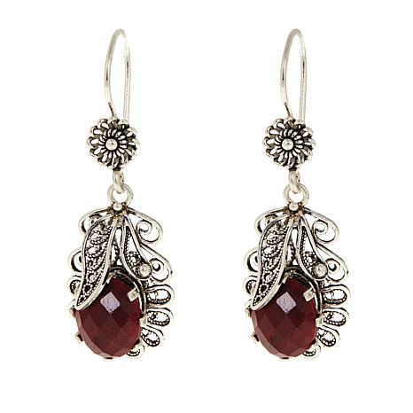 Ottoman Red Corundum Leaf Design Sterling Silver Earrings