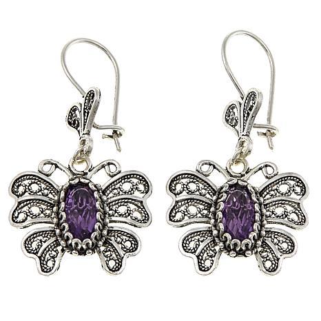 Ottoman Silver 2.8ctw Amethyst Butterfly Filigree Drop Earrings