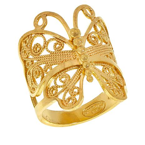 Ottoman Silver Gold-Plated Filigree Butterfly Ring
