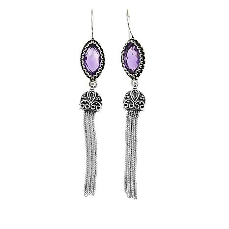 Ottoman Silver Jewelry 10.8ctw Amethyst Tassel Drop Earrings