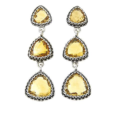 Ottoman Silver Jewelry 15.8ctw Citrine 3-Stone Earrings