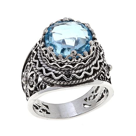 yellow gold sky in petra rings blue topaz gems ring