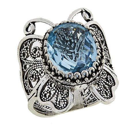 Ottoman Silver Jewelry 5ctw Blue Topaz Butterfly Ring