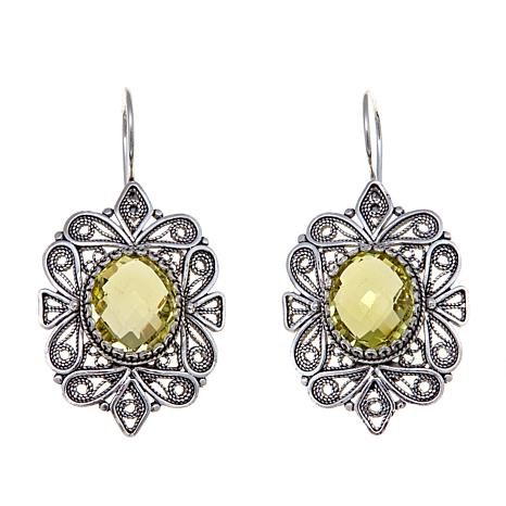 Ottoman Silver Jewelry 8ctw Lemon Quartz Earrings