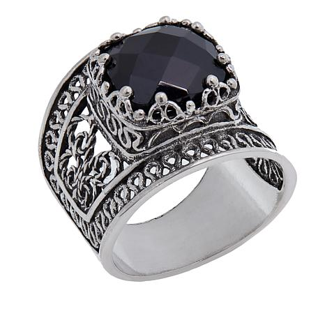 Ottoman Silver Jewelry Collection 4.8ct Black Spinel Filigree Ring