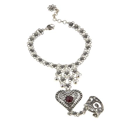 Ottoman Silver Jewelry  Corundum Filigree Heart Bracelet-Ring