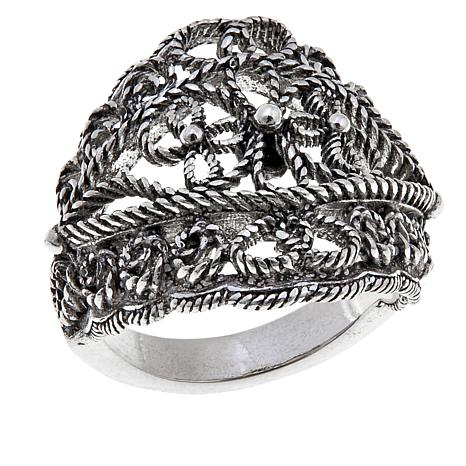 Ottoman Silver Jewelry Floral Bead Ring