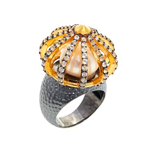 """Ottoman Silver Jewelry Freshwater Pearl """"Sultan"""" Ring"""