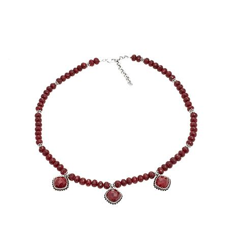"Ottoman Silver Red Corundum Bead 18"" Necklace"