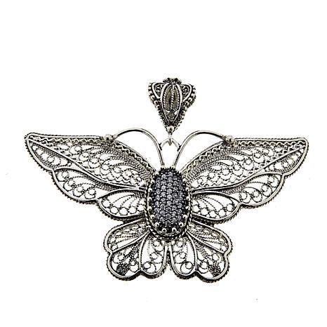 Ottoman Silver Sterling Silver CZ Filigree Butterfly Pendant
