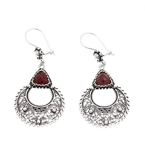 Ottoman Silver Triangular Red Corundum Drop Earrings