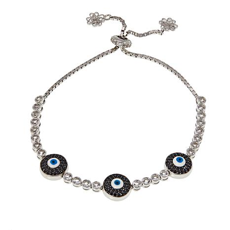 f7002768f77be Ottoman Silver White Topaz & Gem Adjustable Triple Evil Eye Bracelet