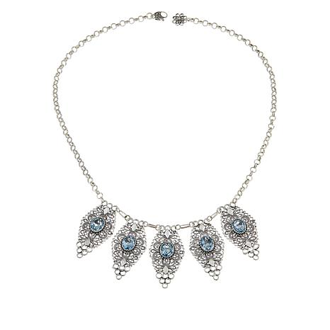 Ottoman Sterling Silver Blue Topaz Floral Drop Necklace